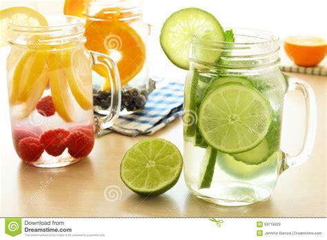 Jar Detox Water by Detox Water With Various Types Of Fruit In Jars