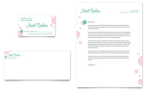 nail salon business card amp letterhead template word