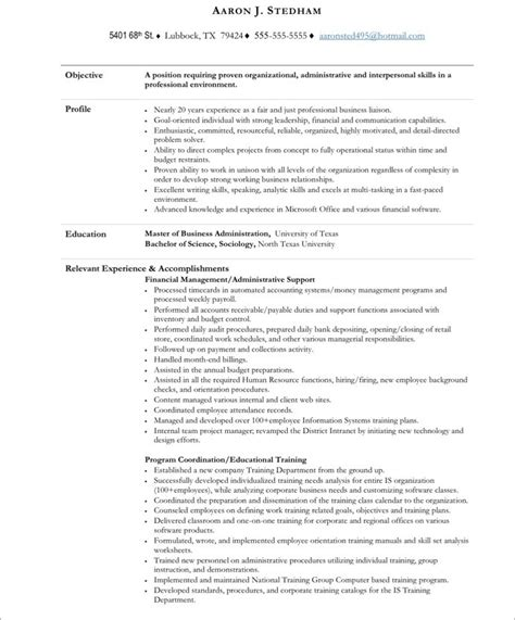 resume templates for assistants executive assistant free resume sles blue sky resumes