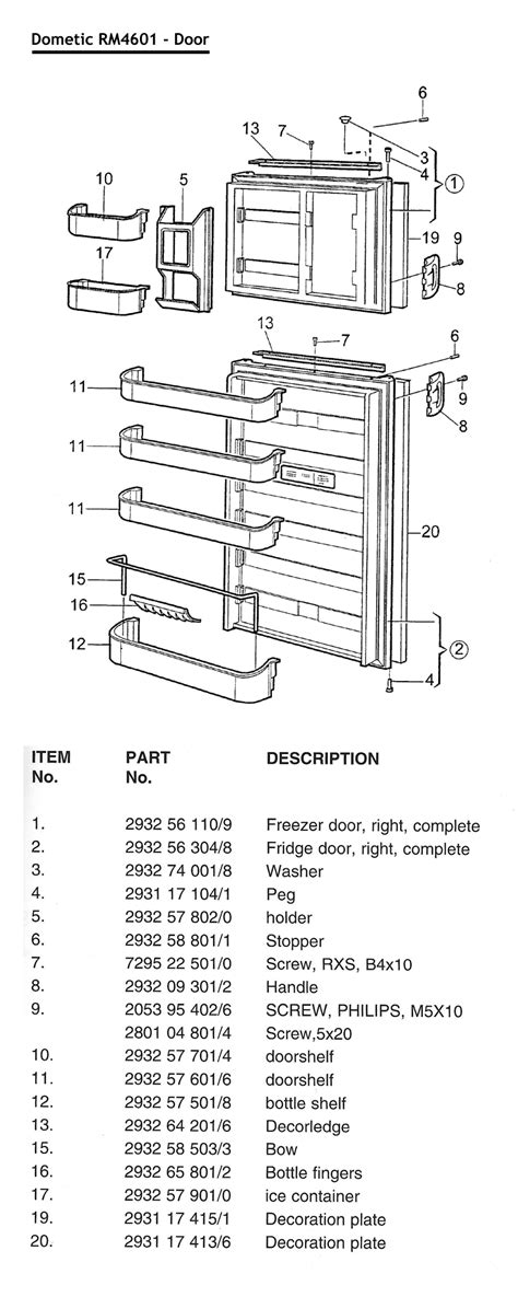 Dometic Awning Parts Canada by Caravansplus Spare Parts Diagram Rm4601 Rm4605 Fridge