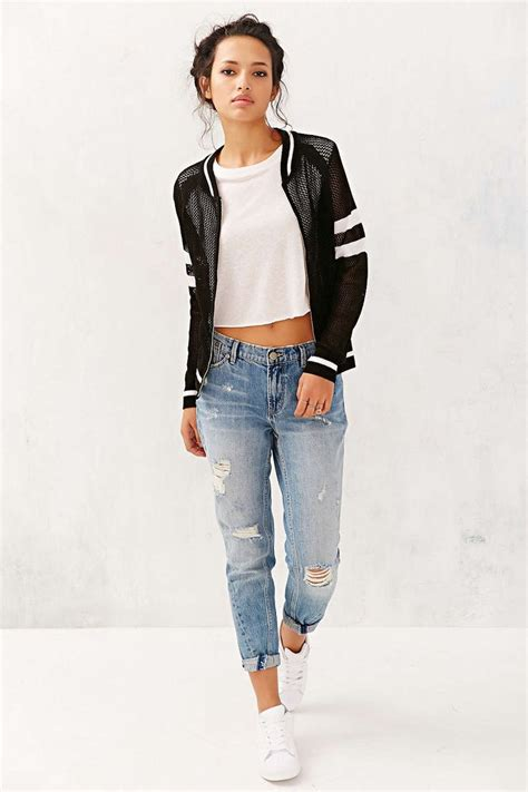 Best Jaket Bomber Cewek Original Bomber Crop Bomber s black and white mesh bomber jacket white cropped top blue ripped boyfriend