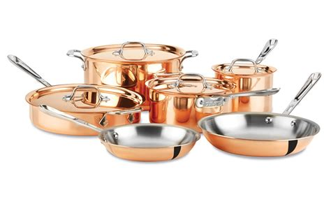copper cookware set all clad c2 copper clad cookware set 10 cutlery and more