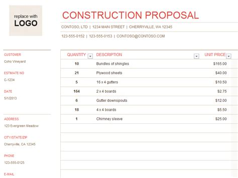 construction bid template construction office templates