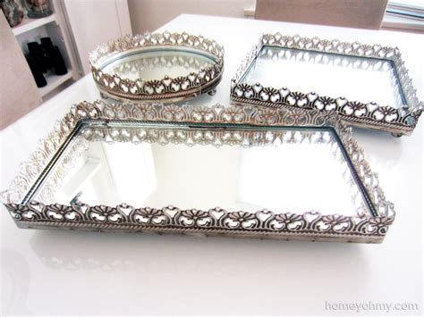 mirrored bathroom tray decorating with mirrored vanity trays homey oh my diy