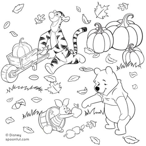 coloring pages of fall scenes winnie the pooh and friends fall coloring page disney family