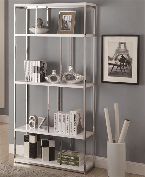 72 Inch Metal Bookcase Glossy White In Bookcases White Metal Bookcase