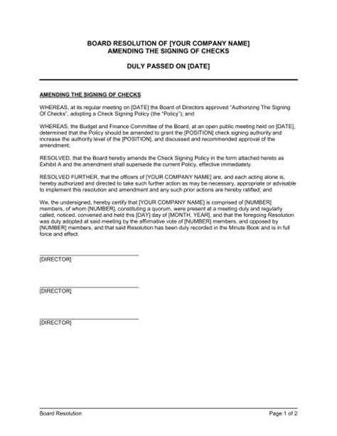corporate resolution authorized signers template sle corporate resolution identifying authorized
