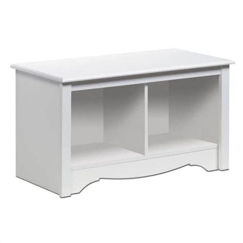 prepac monterey white cubbie bench features