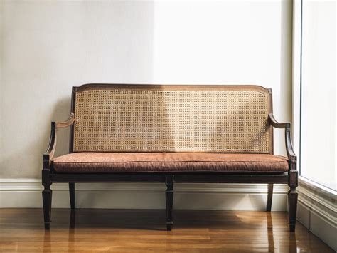 Home Furniture Decoration by Vintage Style Bench Home Furniture Decoration Stock Photo