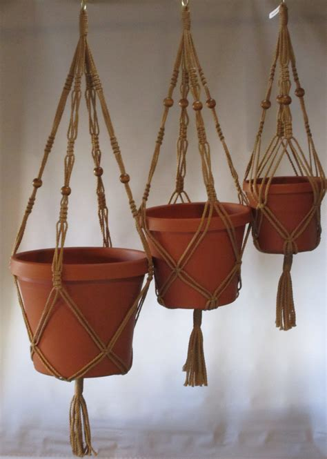 How To Make A Macrame Plant Holder - macrame plant hangers vintage style trio 24 inch 30 inch