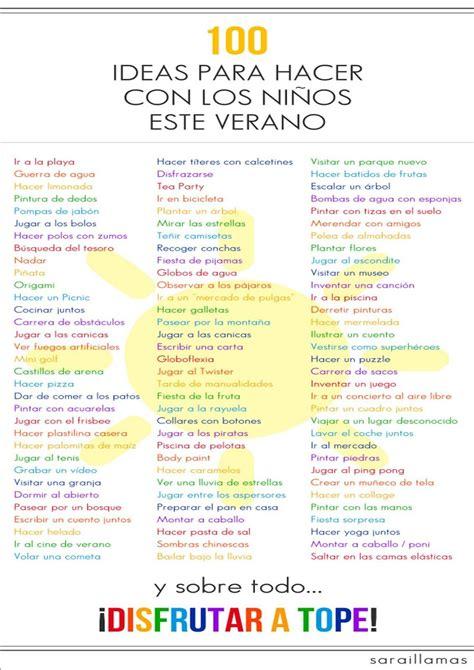 ideas para hacer ebv 2014 100 ideas para hacer con los ni 241 os este veranoblog sobre