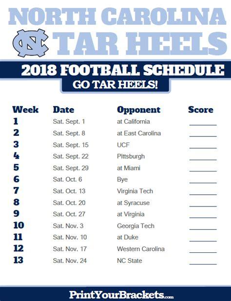 unc printable schedule north carolina tar heels 2018 football schedule printable