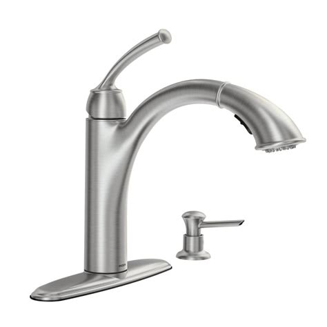 moen kitchen faucet with soap dispenser faucet 87047srs in spot resist stainless by moen