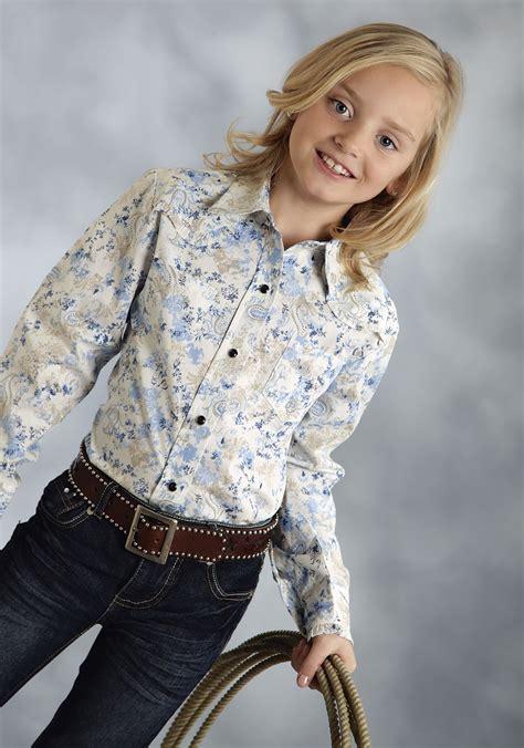 kids ls for girls roper 174 girls blue paisley ruffle snap ls western shirt