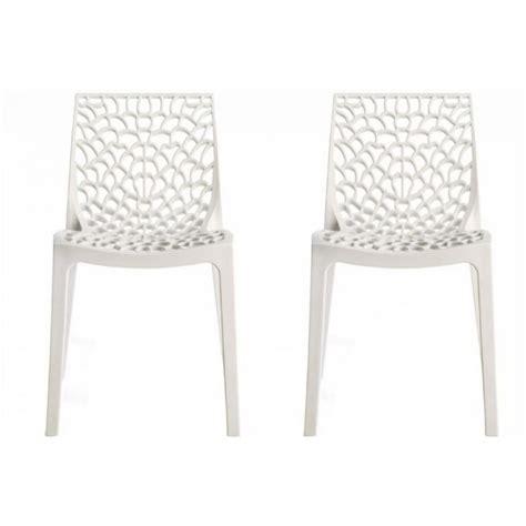 chaises blanche lot de 2 chaises design blanche gruyer achat vente