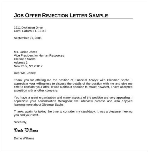 Offer Letter Rejection Due To Salary sle letter declining offer due low salary cover