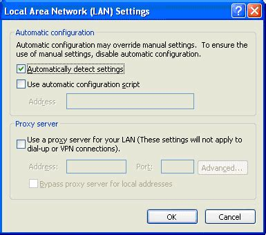 configure xp for local network incredible charts proxy server lan settings