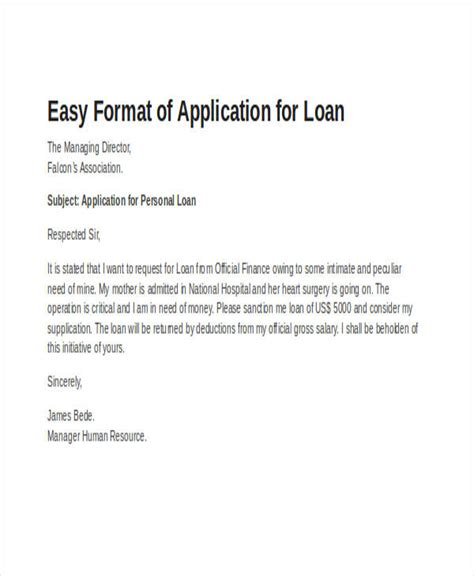 Official Loan Letter Format 46 Application Letter Exles Sles
