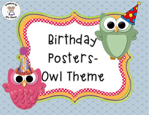 owl theme creations by mrs mouse birthday posters owl theme