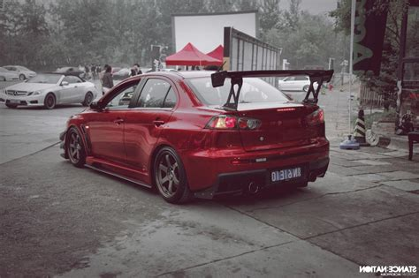 mitsubishi lancer stance car mitsubishi lancer evo x stance tuning lowered jdm