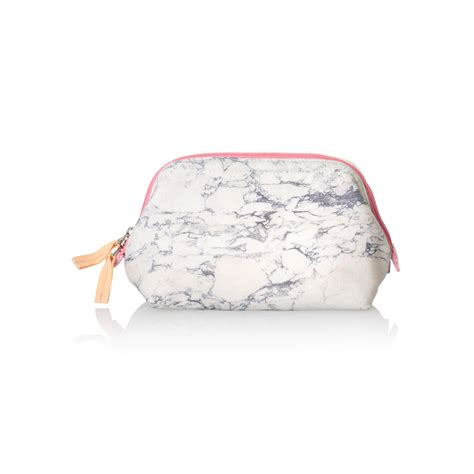pencil case with 3 sections white marble make up bag oliver bonas
