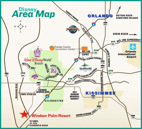 area map direction disney condo rentals