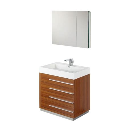 Acrylic Vanity fresca livello 30 in vanity in teak with acrylic vanity top in white with white basin and