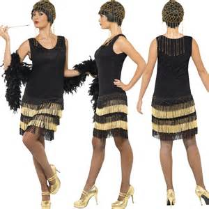 Ladies black gatsby 20s flapper girl fancy dress costume with headband