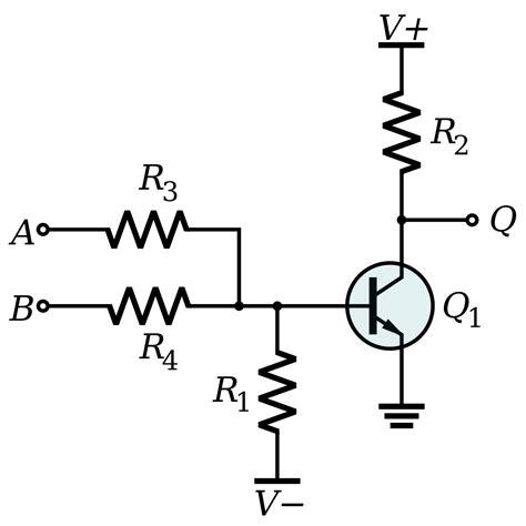 npn transistor not gate npn transistor or gate 28 images diy not gate let s make robots digital logic or gate lab