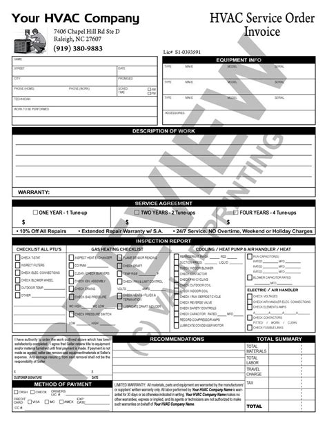 Here Is A Tune Up Checklist Invoice That Does Double Duty As A Hvac Maintenance Contract All Hvac Start Up Report Template
