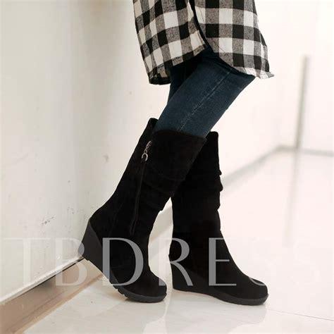 Wedge Mid Calf Boots wedge heel toe side zipper mid calf s boots