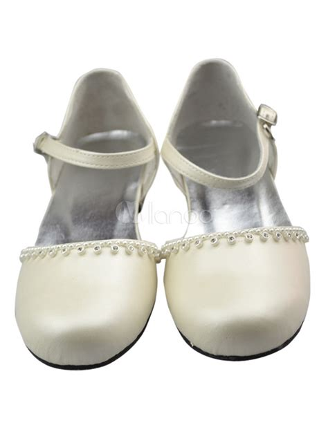 cheap ivory flower shoes ivory tip top rhinestone pu flower shoes milanoo