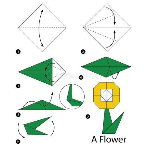 origami flowers step by step origami flower stock images royalty free images step by step how to make origami a flower stock vector illustration 76109545