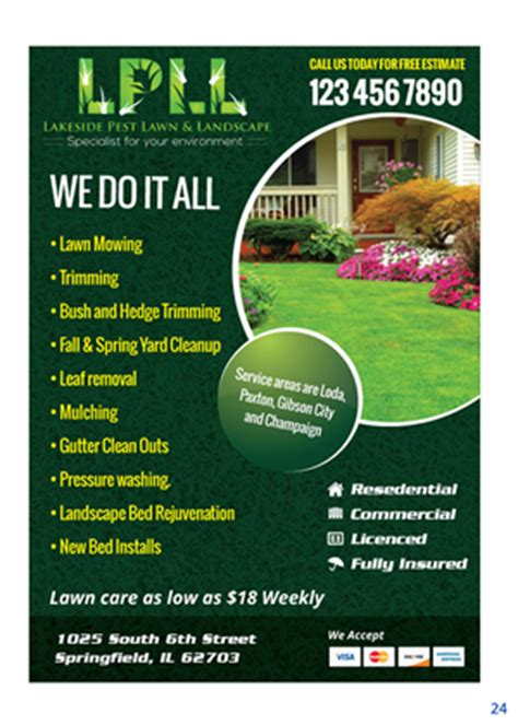 29 colorful professional lawn care flyer designs for a