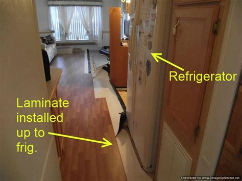Replace Tile With Hardwood In Kitchen by Installing Laminate Flooring Refrigerators