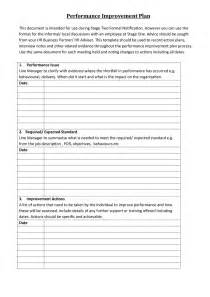 Performance Plan Template by Doc 699943 Employee Performance Improvement Plan