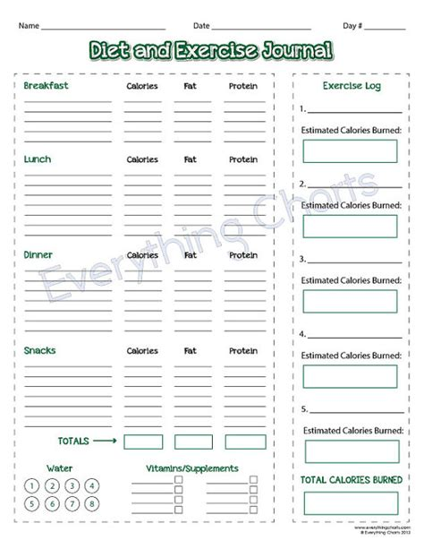 fitness journal template printable diet and exercise journal pdf file printable