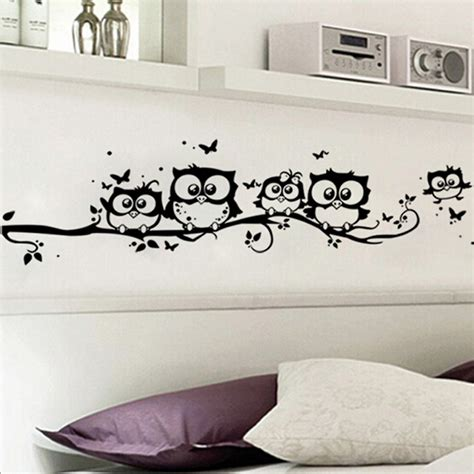 home decor wall stickers diy black owl cartoon wall stickers removable art vinyl