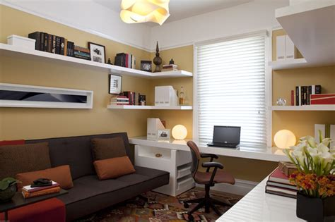 home office wall transitional home office with yellow walls modern home