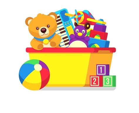Kid Toys Box 10 toys in box vector clipart graphics creative market