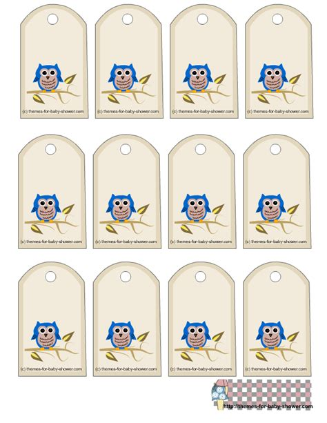 printable labels for baby shower favors free printable owl baby shower favor tags