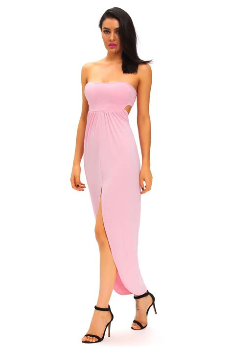 Hollow Out Dress fashion pink draped hollow out maxi dress