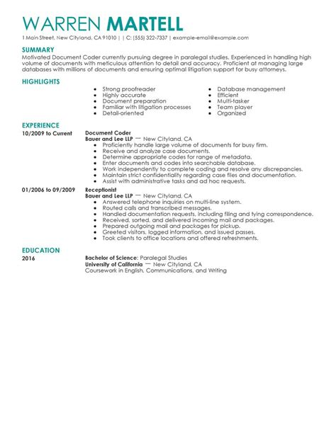 What Jobs To Put On Resume by Best Legal Coding Specialist Resume Example Livecareer