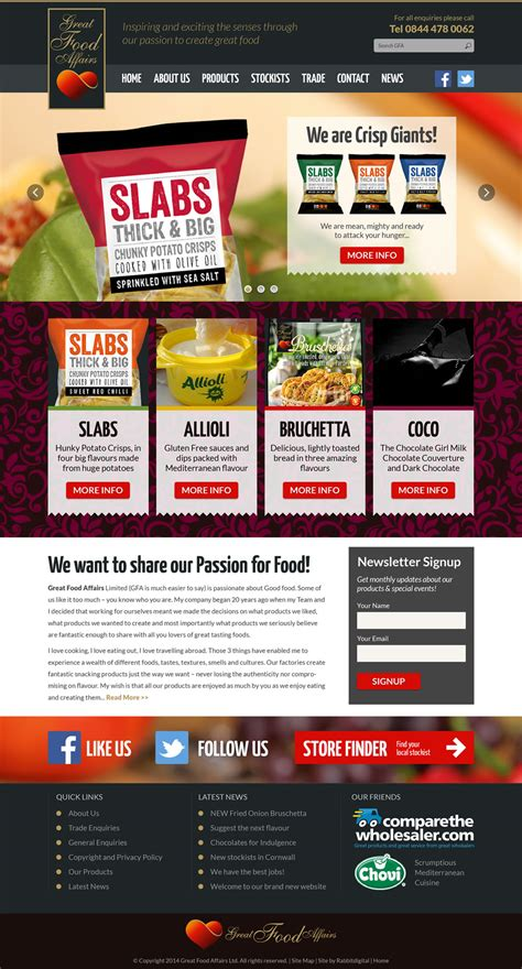web layout options website design for food products company great food affairs