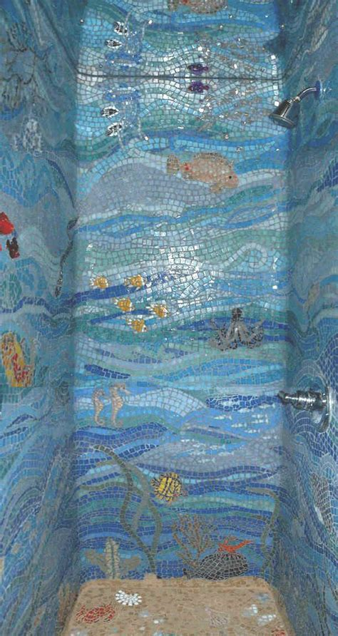 Kitchen Cabinet Refacing Supplies by Mosaic Tile Design Of Underwwater Scene And Shower