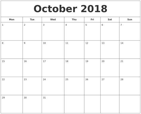 Calendar 2018 October Printable October 2018 Printable Calendar