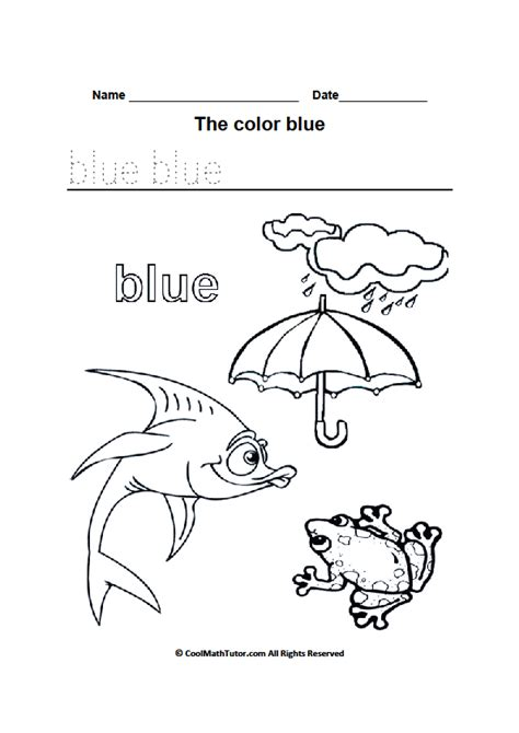blue coloring pages for toddlers color blue worksheets for kindergarten