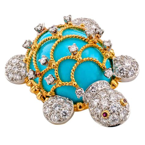 Bros Bross Brooch hammerman brothers turquoise gold turtle brooch at 1stdibs