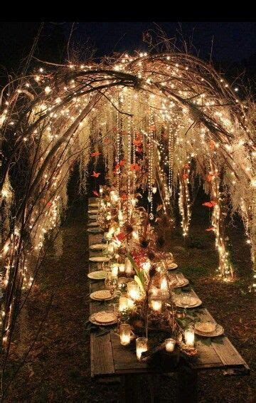 beatiful medieval fantasy wedding dinner wedding lights