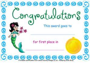 swimming certificate first place mermaid
